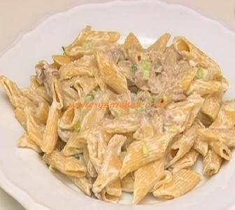 labneli mantarlı diyet makarna tarifi
